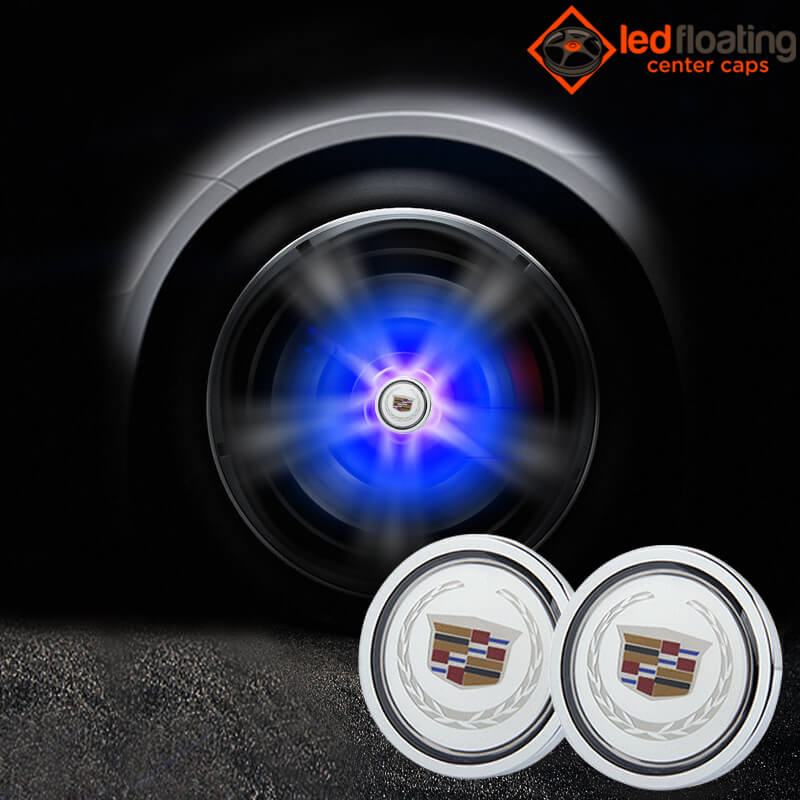 Cadillac Floating Center Caps 66mm with Ears Wheat White Logo