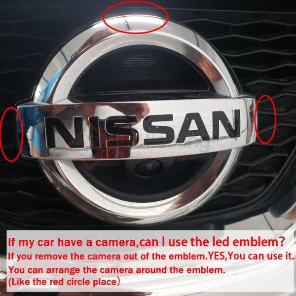led nissan emblem with camera hole