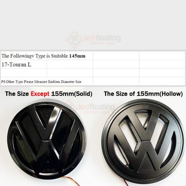 how to choose light up vw emblem size